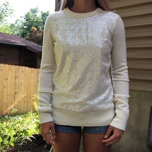 KATE SPADE white sequins sweater tie back size S